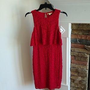 Gianni Bini red stretch lace dress S